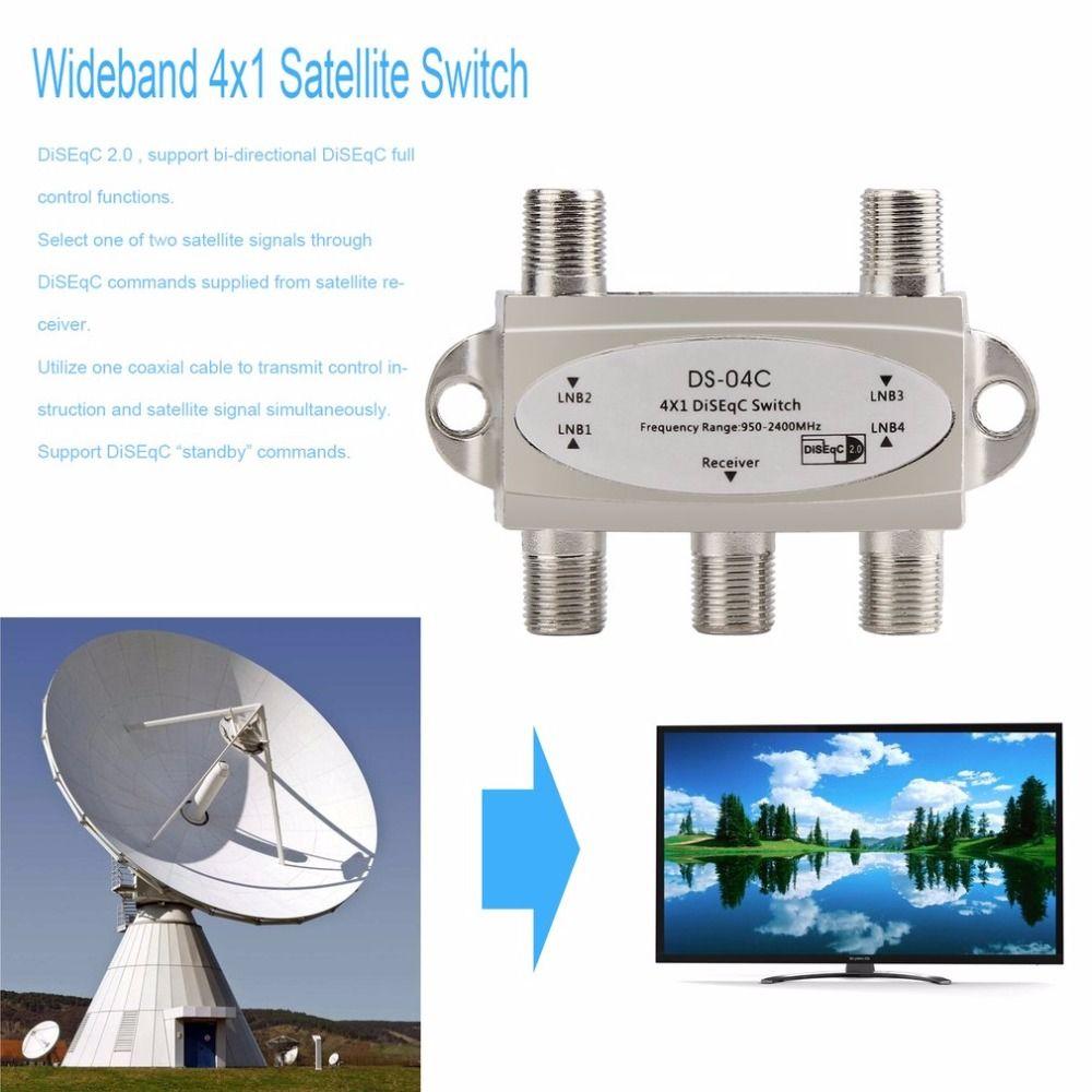 4 in 1 4x1 DiSEqc 4-wege Breitband Schalter DS-04C hohe Isolation Verbinden 4 Satellitenschüsseln 4 LNB Für Satellitenempfänger