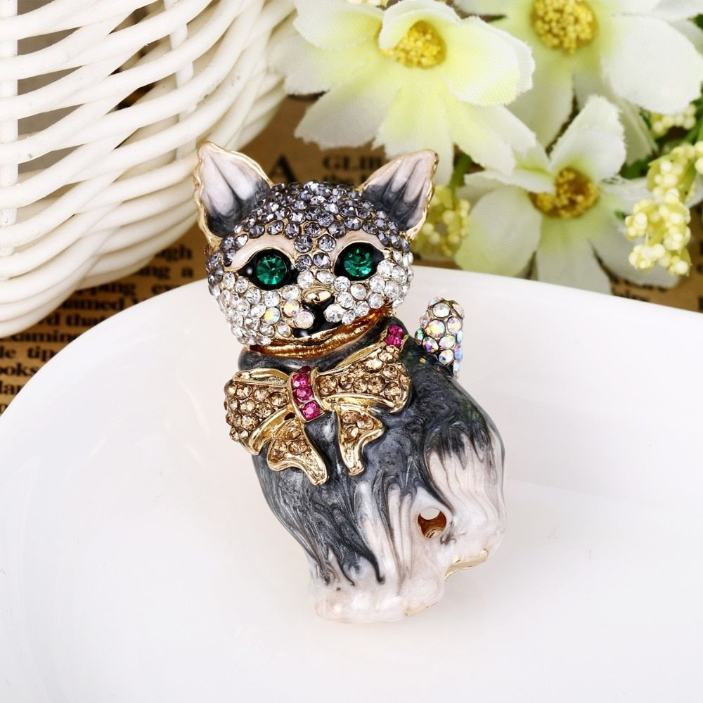 Bella Moda 3 Colores Esmalte Gato de la Historieta Del Animal Doméstico Animal Broche Broches de diamantes de Imitación de Cristal Austriaco Para Las Mujeres Joyería Del Partido