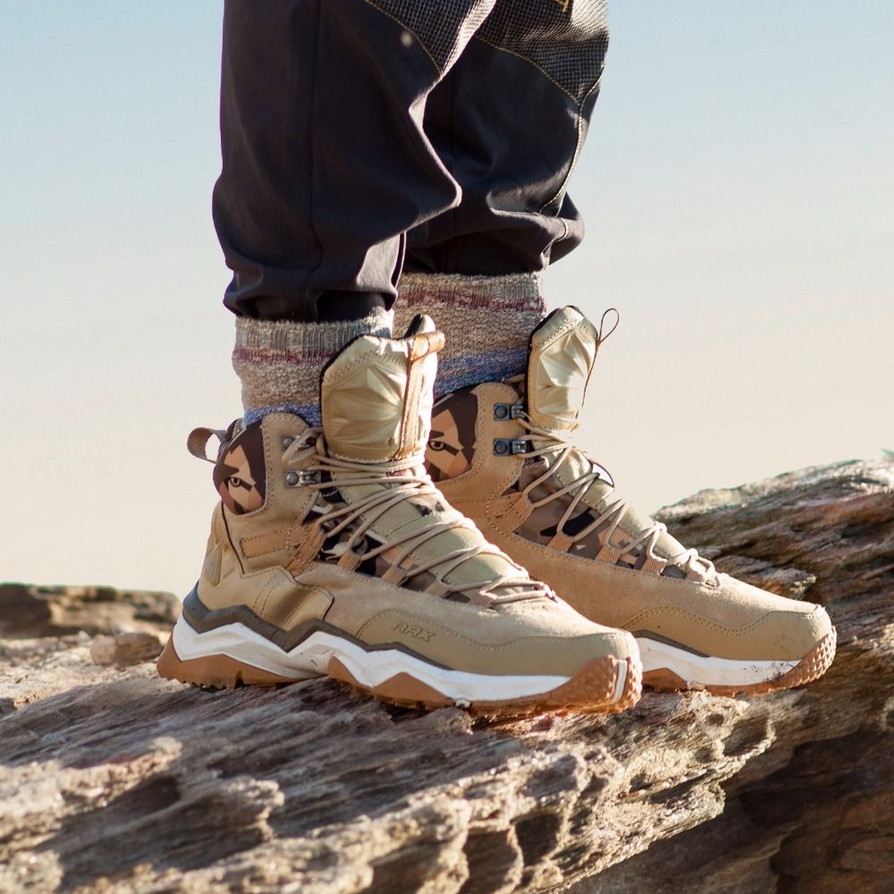 RAX Men Hiking Shoes Mid-top Waterproof Outdoor <font><b>Sneaker</b></font> Men Leather Trekking Boots Trail Camping Climbing Hunting <font><b>Sneakers</b></font> Women