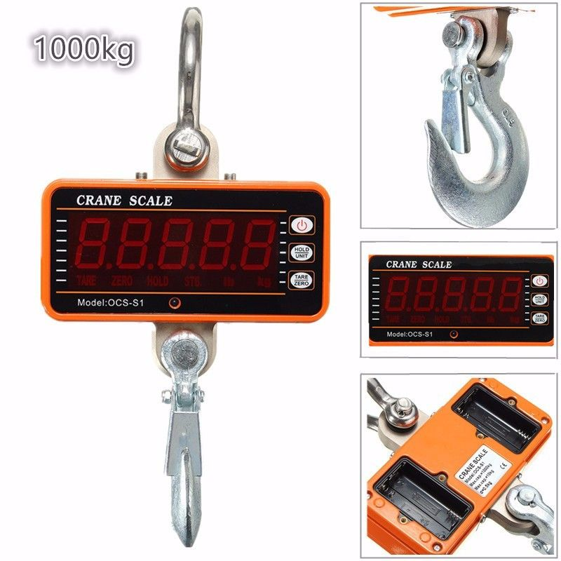 Digital Hanging Scale 1000KG 2000LBS LCD Crane Scale High Precision Heavy Duty