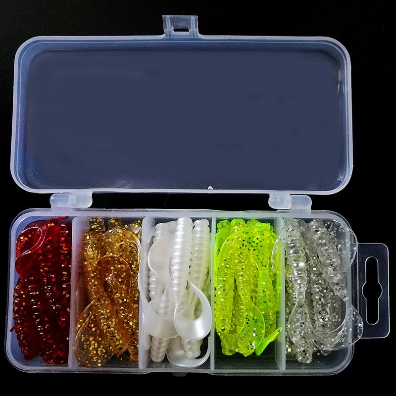 50pcs Soft Lures Set Box Classic Flexible Swimbaits Artificial Bait Silicone Lure Fishing Tackle Fishing Lures