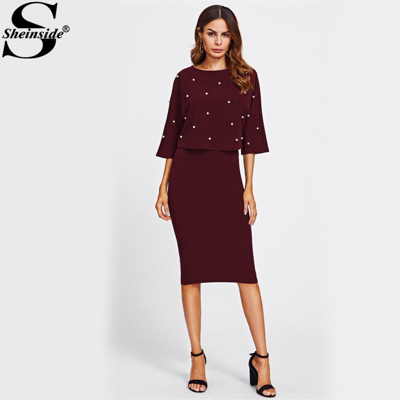 Sheinside Pearl Beading Embellished Front Top & Pencil Skirt Set 2017 Fashion Burgundy Round Neck 3/4 Sleeve Elegant Twopiece