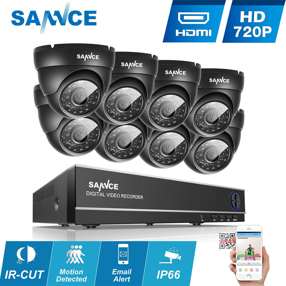 SANNCE 1080N AHD 8CH DVR 1.0MP 720P Outdoor CCTV Cameras Home Security System