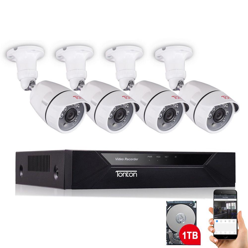 Tonton 8CH 1080P CCTV Security Camera System 4PCS Night Vision AHD Outdoor Weatherproof Day/Night DIY Kit Video Surveillance Set