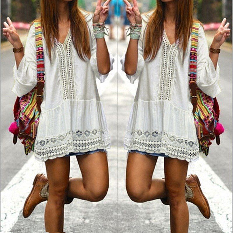 2018 Bohemian Style Women Summer White Dress Sexy Casual V Neck 3/4 Flare Sleeve Lace Crochet Loose Mini Beach Dresses Vestidos