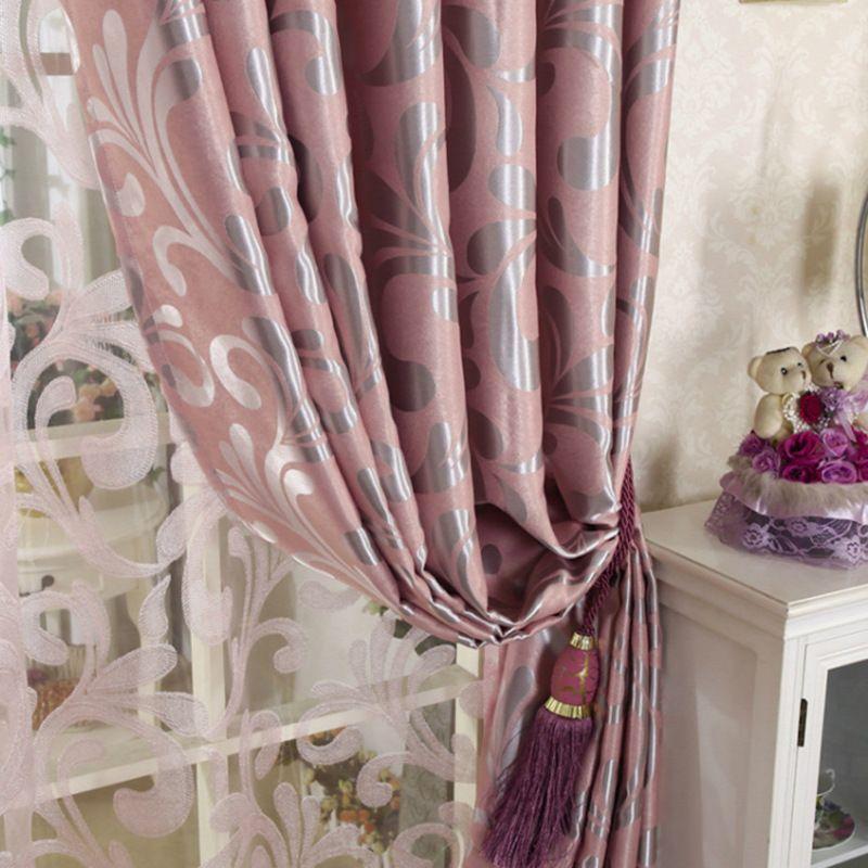 Européenne Double jacquard rideau pour salon épaississement rideaux occultants Relief motif tulle rideaux pour chambre fenêtre