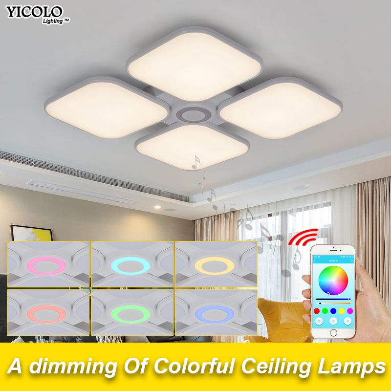 Celing Lights Cold White +Warm White luminaria Bluetooth Music Light Intelligent APP Control Lampshade/Modern Ceiling Light