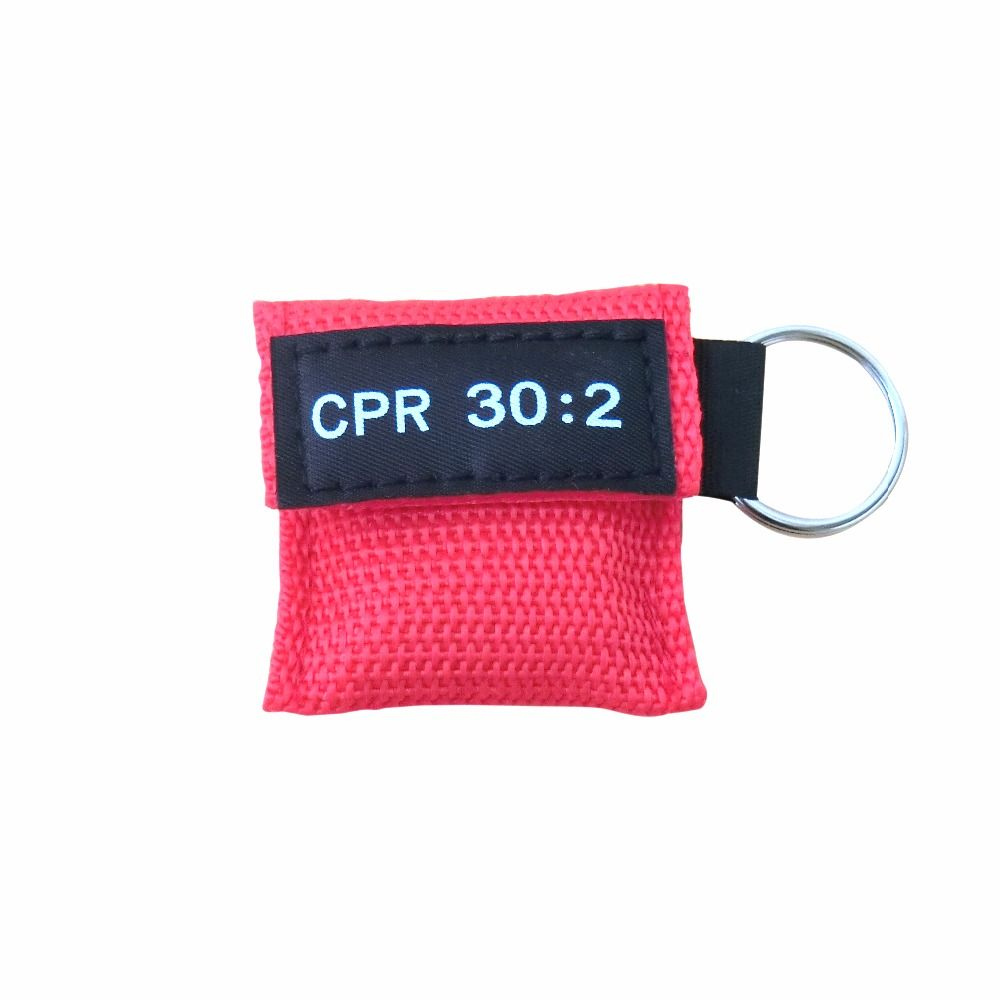 500Pcs/Pack CPR Mask With Mouth To Mouth Breathing Mask Resuscitator Face Shield For First Aid Red Nylon Pouch Wrapped
