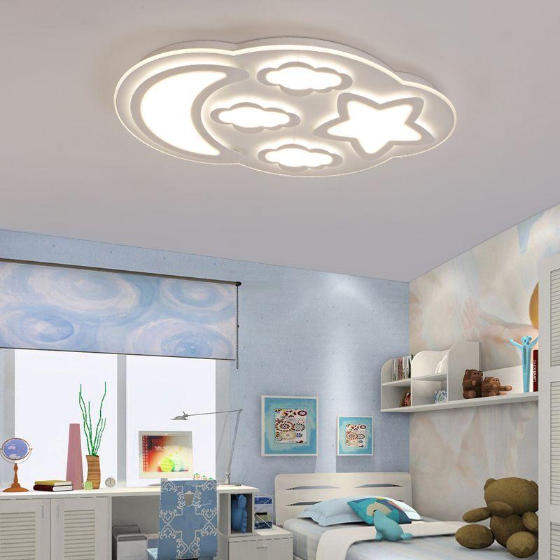 modern Children bedroom led ceiling light clouds boy girl bedroom warm stars moon ceiling light