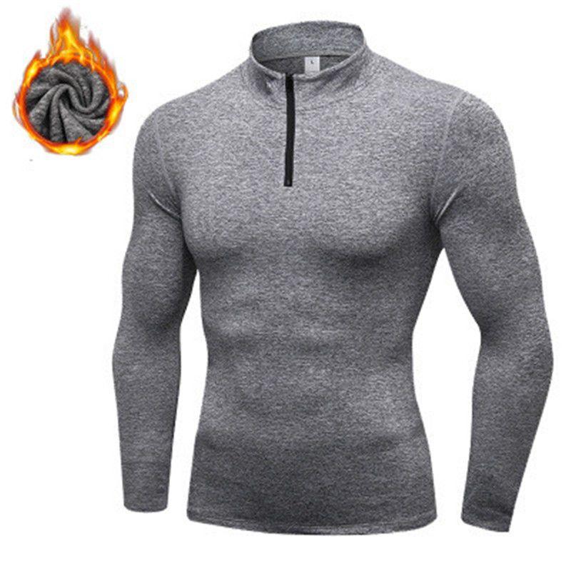 LoRun Winter Running Tshirts Men Rashgard Wool Brushed Fitness Gym Blouses Man Thermal Long Sleeve Sweater Sport Jersey Shirt