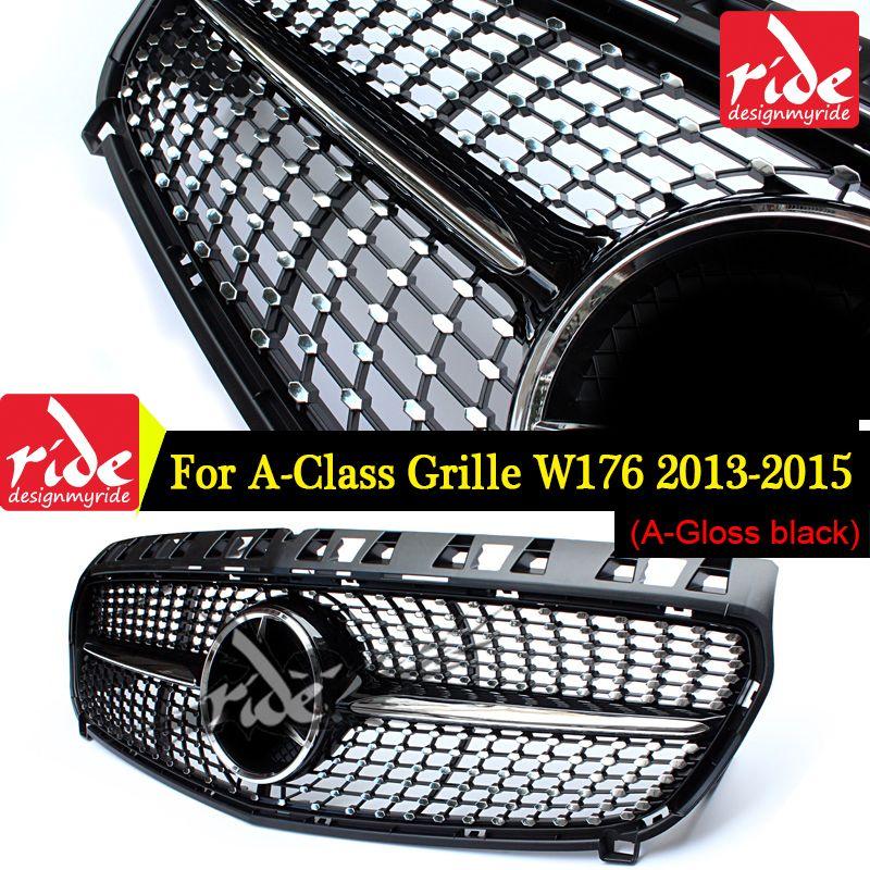 Diamant Frontgrill Für Mercedes Benz A-Klasse W176 Glanz Schwarz Ohne Emblem Abzeichen ABS Ersatz 2013-15 a180 A250 A200 A300