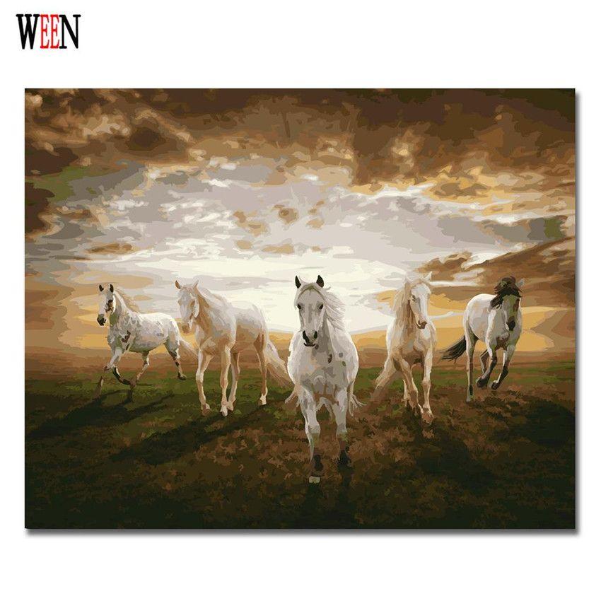 Cinq chevaux peinture à l'huile coloriage par numéro décor à la maison bricolage peint à la main mur photos par numéros toile Art affiche Quadros