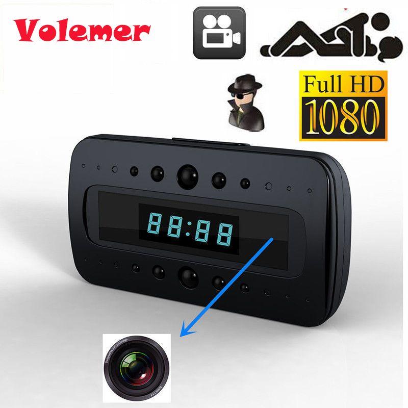 Volemer 2017 HD 1080 P caméra horloge IR Vision nocturne détection de mouvement Mini DV + télécommande Mini sécurité caméscope intelligent Support carte TF