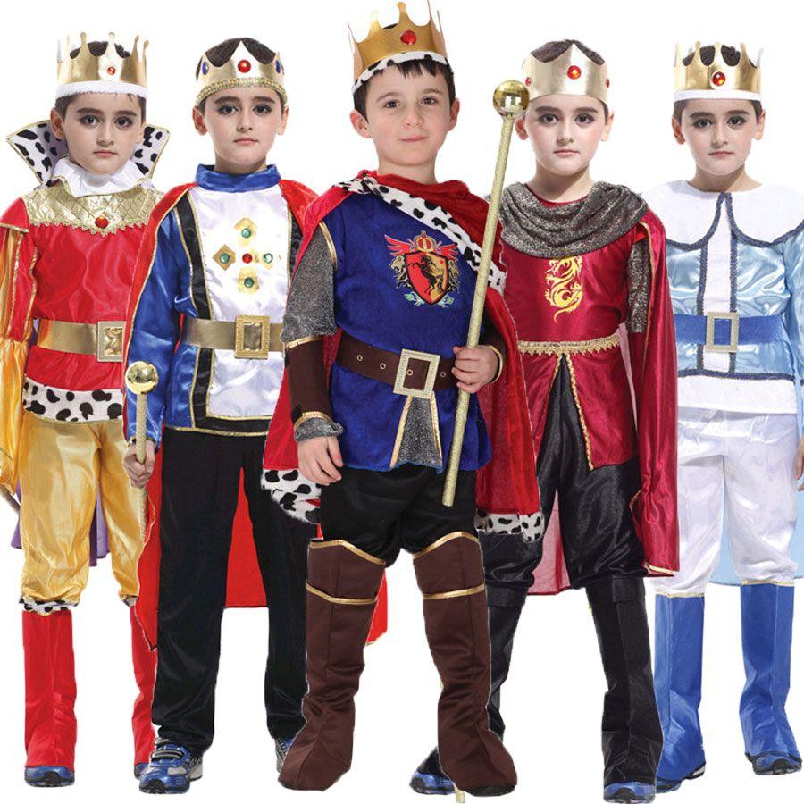 Хэллоуин Пурим карнавал King принц костюм для мальчика Обувь для мальчиков детей Fantasia Infantil Карнавальная одежда комплект