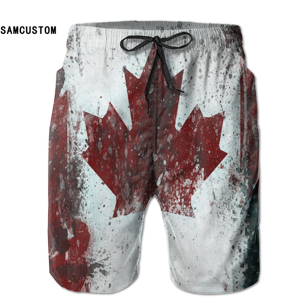 SAMCUSTOM mens perspiration quick dry ultra-light breathable Canada CAN Flag shorts gmy shorts beach shorts
