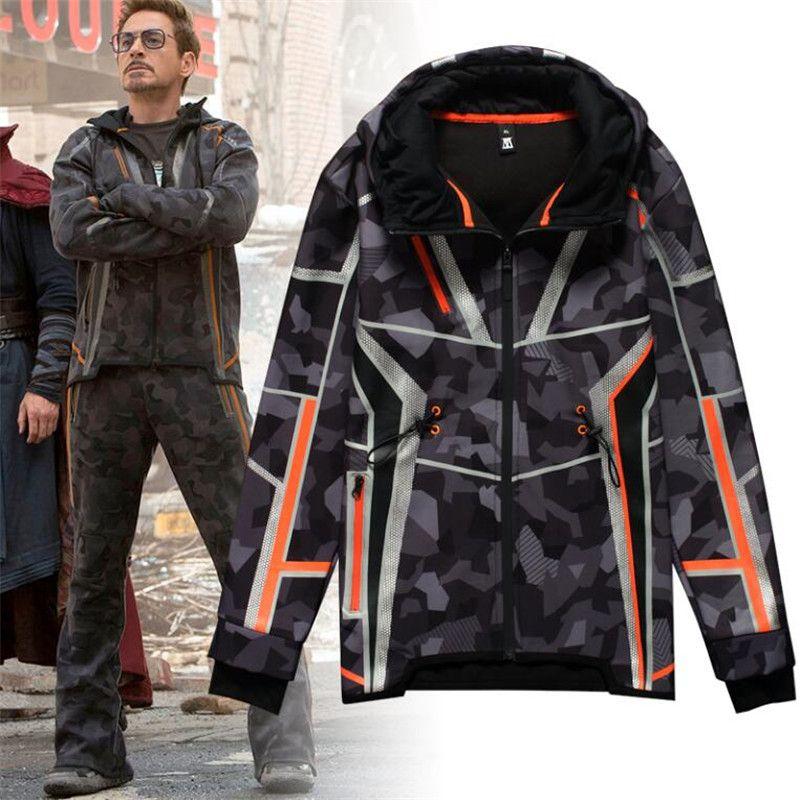 Film Die Avengers 3 Eisen Mann Winter Jacke Tony Gleichen Stil Cosplay Kostüme Camouflage Sterne Liebe Top Mantel Hosen Phantasie