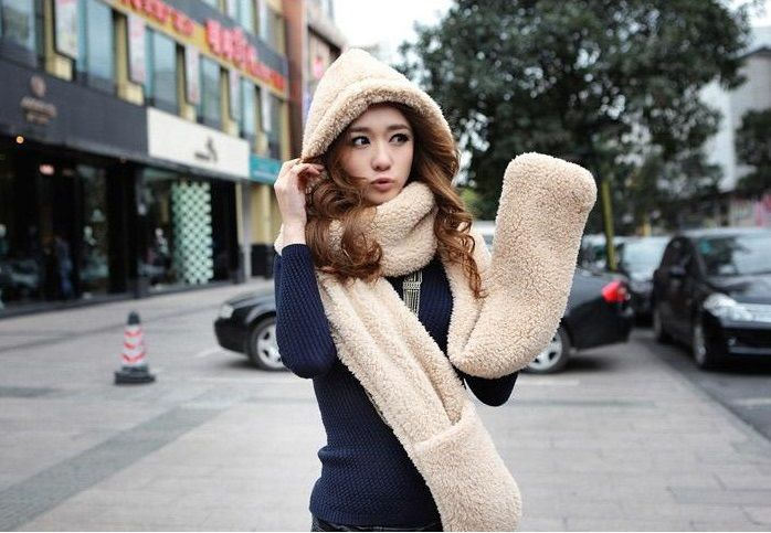Comfortable Soft Faux Fur Hooded Scarves Hats Gloves Three In One Shu Velveteen Warm Winter Hat Female Scarf Set Free Shipping