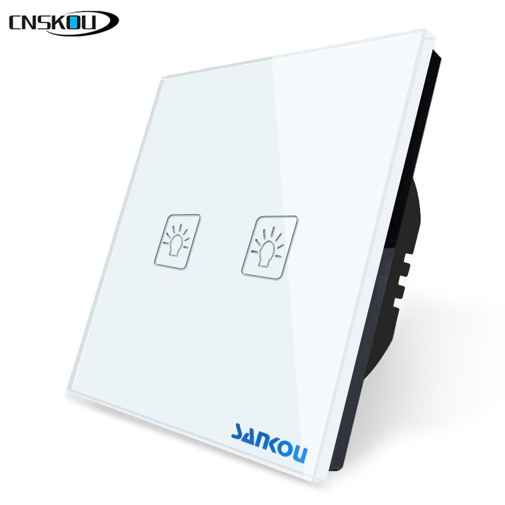 Cnskou EU Standard 2Gang 1Way Wall Electrical Touch Switches White Crystal Glass+LED Light Lamps Sensor Switch Factory Direct