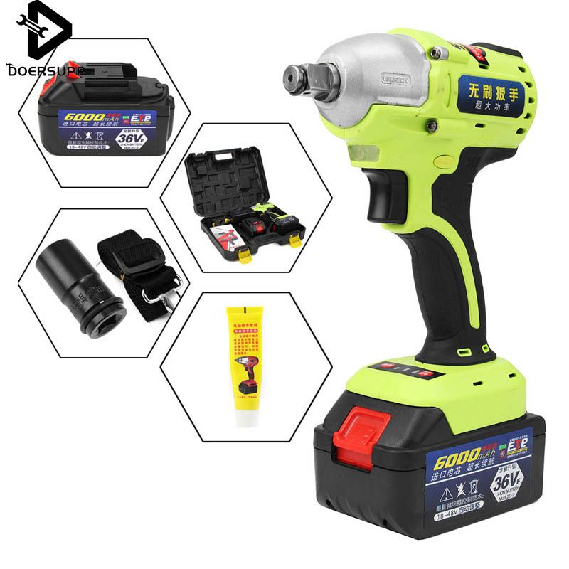 36V 1/2 inch Brushless Cordless Impact Wrench 6000mAh Lithium Battery Power Tool Kits + 2 Li-ion Battery Hammerdrill with LED