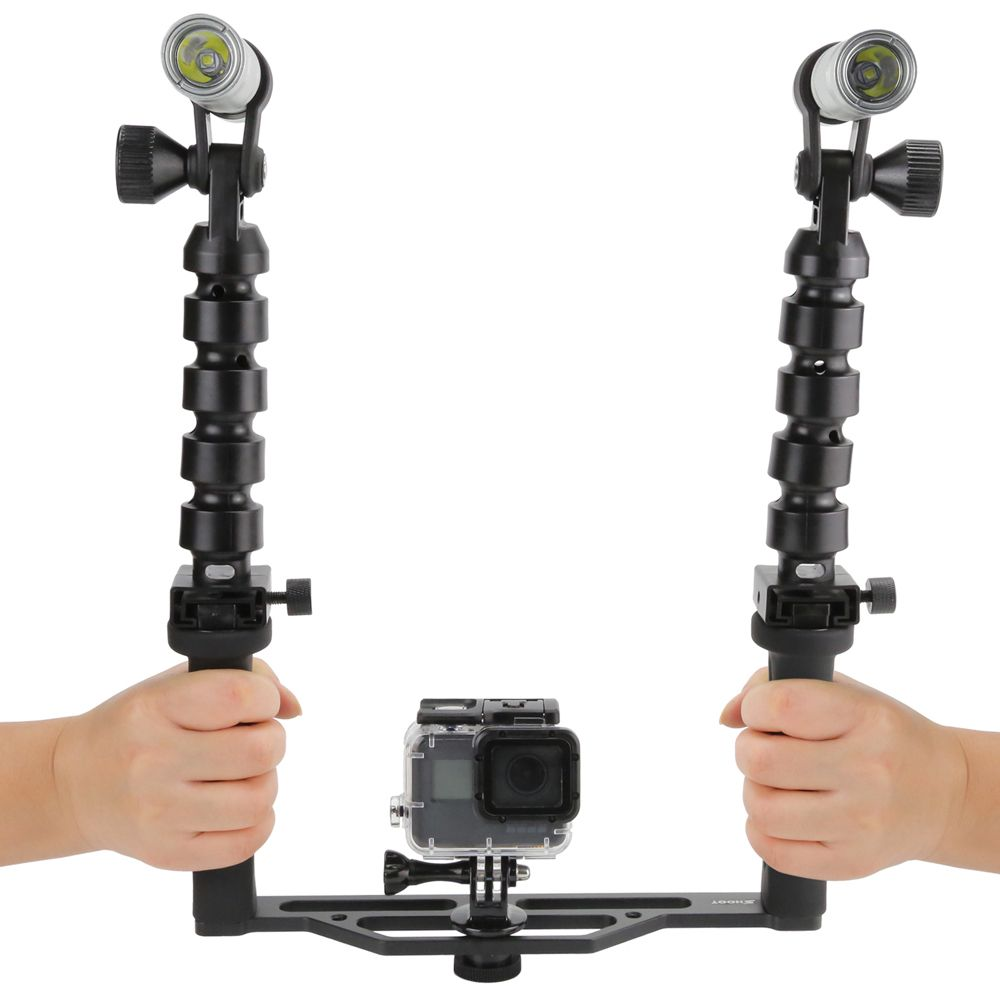 Scuba Diving Two-Handle Flex Arm Tray + Underwater Video Flashlights for GoPro 5/4/3+/3/2/1 /SJcam/Xiaoyi Action Cameras