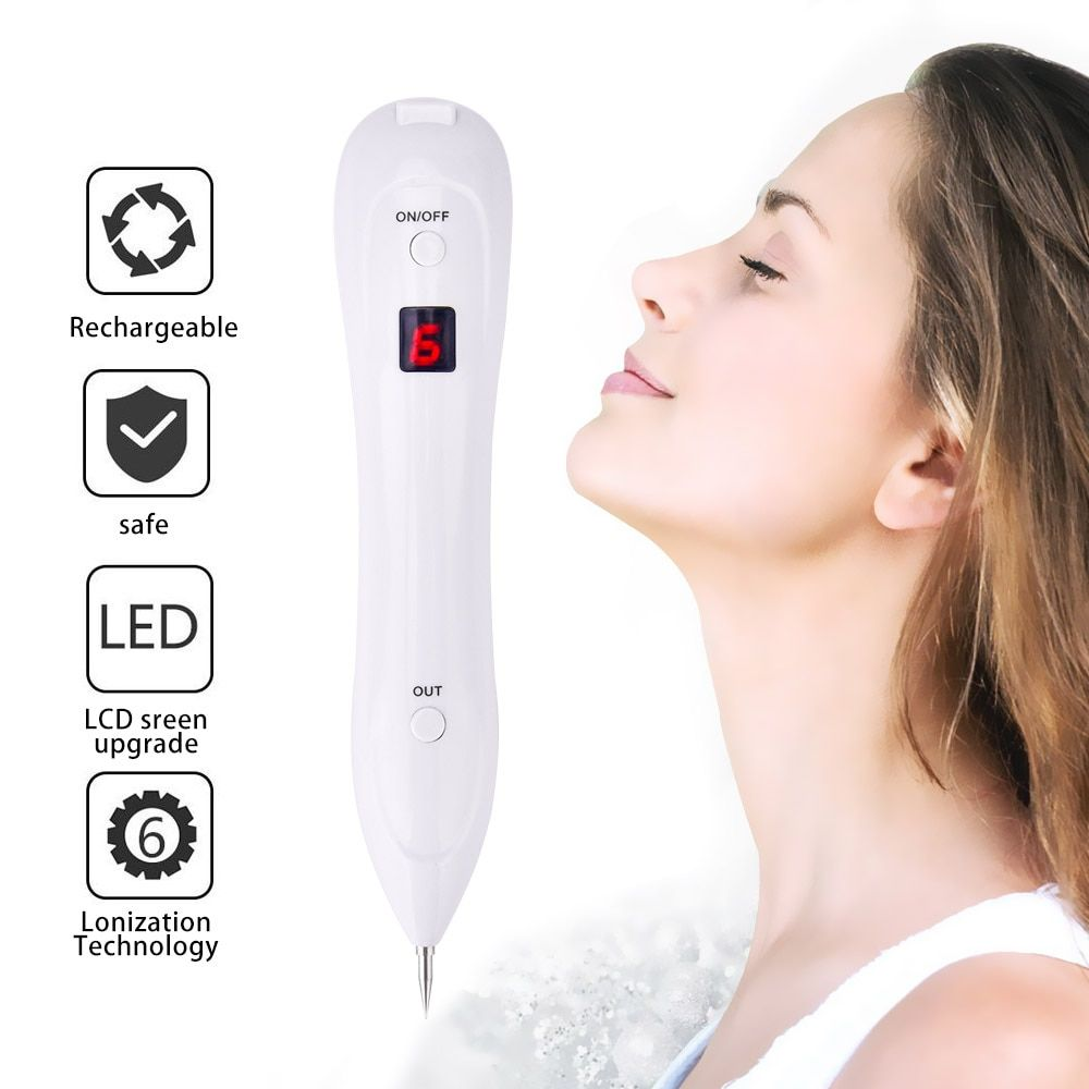 Upgraded 6 Gears LCD Display Mole Freckle Dark Spots Tattoo Wart Removal Pen Skin Tag Spot Eraser Dot Mole Remover Device