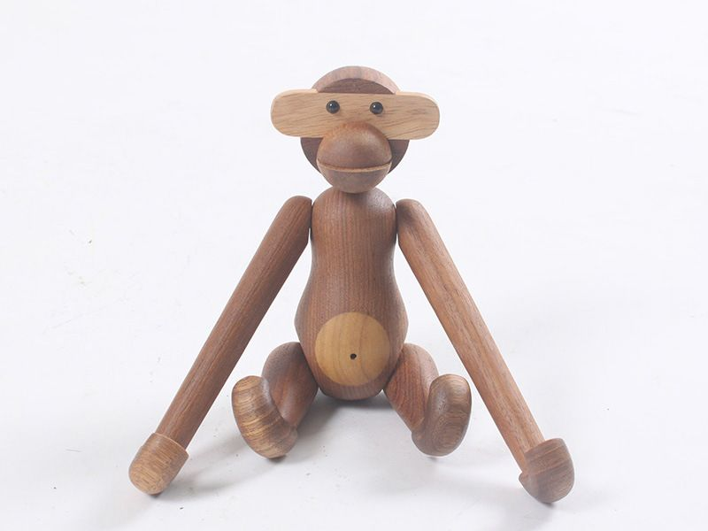Danmark Natural Wooden Hanging Monkey Doll Figurines Teak Puzzle Wood Toys Animal Statues Gifts Home Decor Crafts for Kids