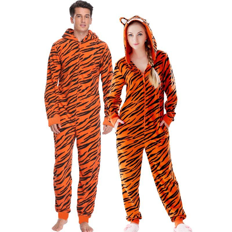 Grande taille Polaire Tigre Pyjamas Femmes Point Onesie Animal Costumes Combinaisons Couple Combinaison Pyjamas Onesie Pour Adulte Kingurumi