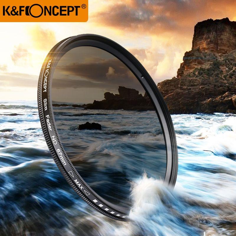 K & F CONCEPT 40.5 ~ 82MM mince Fader Variable ND filtre réglable ND2 à ND400 densité neutre pour Canon 7D 50D 60D