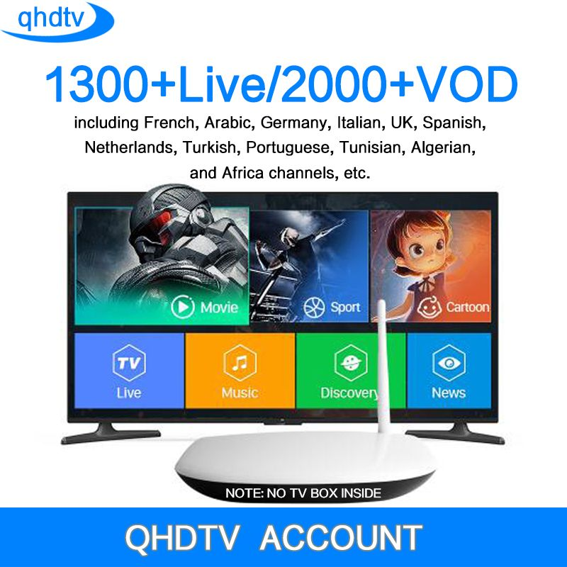 QHDTV 1 Year Subscription Europe French Italia 1300 Channels Support Android TV Box Arabic IPTV M3u Top Box Qhdtv Account