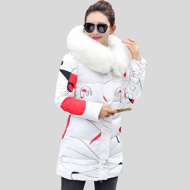 Hot sale 2017 New Winter Coats and Jackets Women Slim Long Parka Thick Warm Big Fur Hooded Cotton Jackets Fashion Female Coats