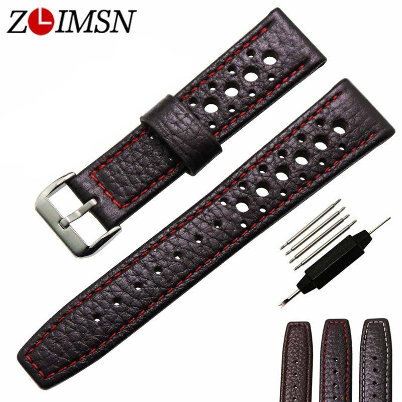 ZLIMSN Genuine Leather Watch Strap 20 22mm Watchband Black Brown Band Men Women Watches Accessories Silver Buckle Relojes Hombre
