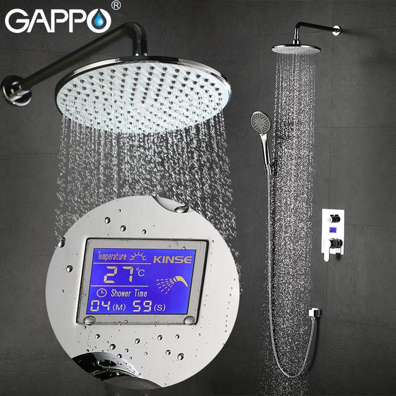 GAPPO Wall Mounted bathroom shower faucet Chrome LCD Digital Temperature shower tap mixer Torneira de chuveiro shower system