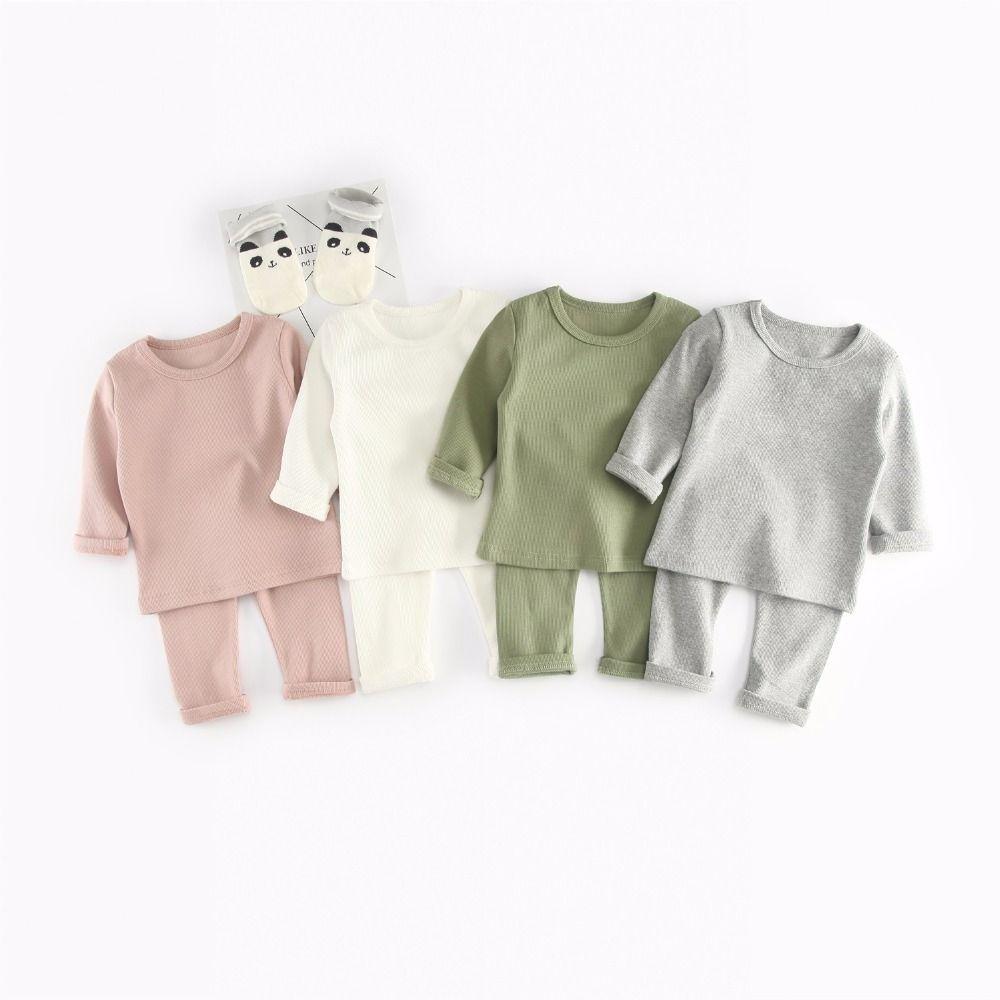 4 couleurs Enfants Survêtements 2018 Automne Bébé Nervure Coton À Manches Longues Vêtements Set Enfants tops et pantalon 2 pcs Vêtements costume