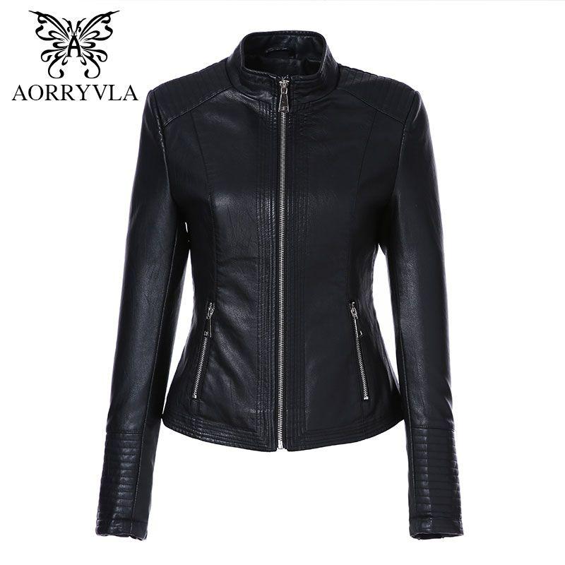 AORRYVLA Leather Jacket Women Autumn 2018 Black Color Washed PU Leather Short Jacket Mandarin Collar Zippers Slim Ladies Coats