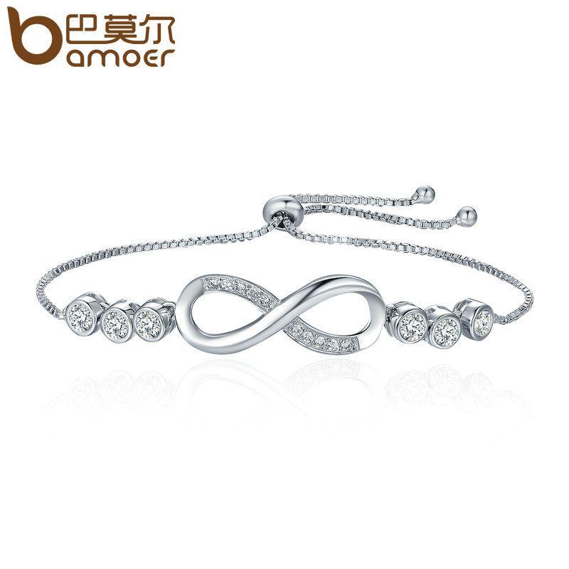 BAMOER Hot Sale Popular Silver Color Endless Love Infinity Bracelet Lace up Tennis Bracelets for Women Fashion Jewelry YIB037