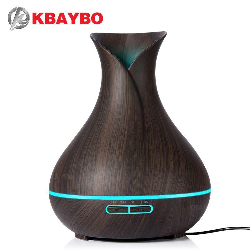Humidificateur d'air ultrasonique de diffuseur d'huile essentielle d'arome de KBAYBO 400ml avec le LED électrique de Grain en bois allume le diffuseur d'arome pour la maison