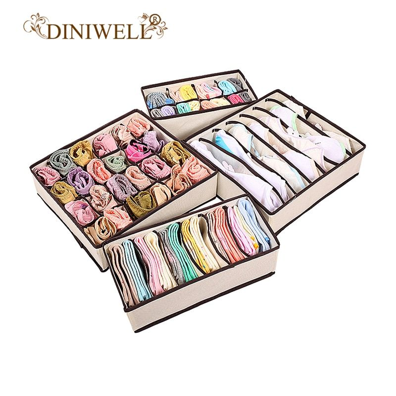 DINIWELL Home Storage Boxes For Ties Socks Shorts Bra Underwear Divider Drawer Lidded Closet Organizer Ropa Interior Organizador