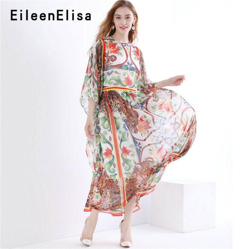 Designer Kleider Runway 2018 Hohe Qualität Lange Gedruckt Floral Urlaub Kleid Sommer Vintage Boho