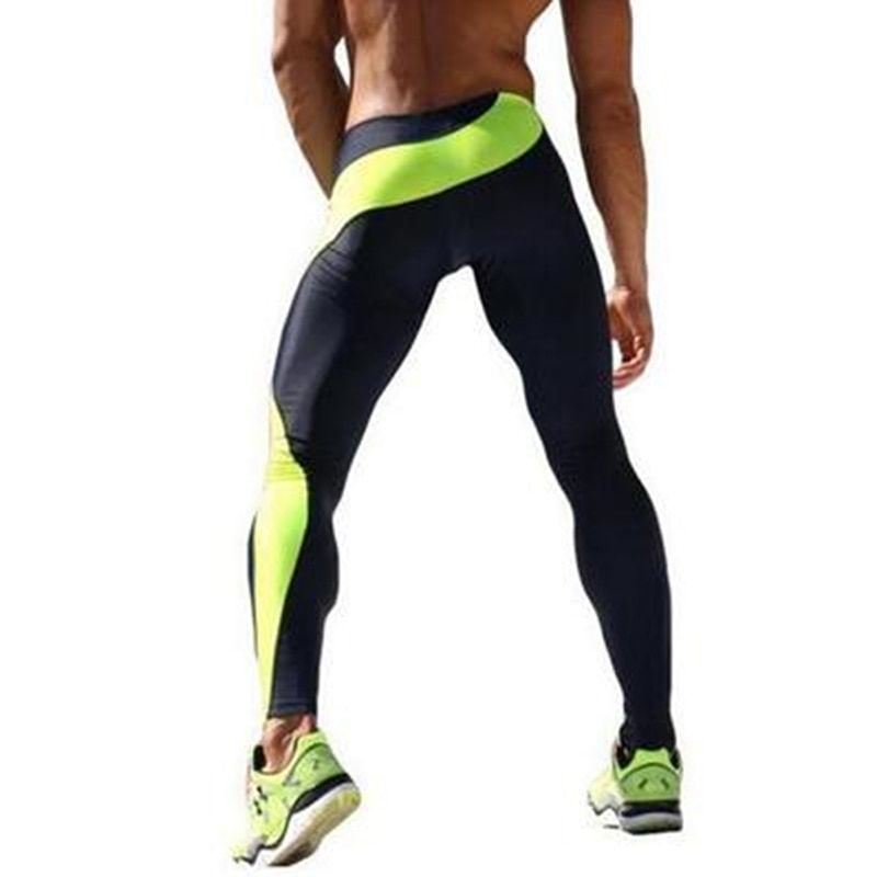 Mens Sportswear Fitness Elastic Breathable Running Pants Bottom Crossfit Weight Lifting Bodybuilding Gym Skin Sport Trousers Men
