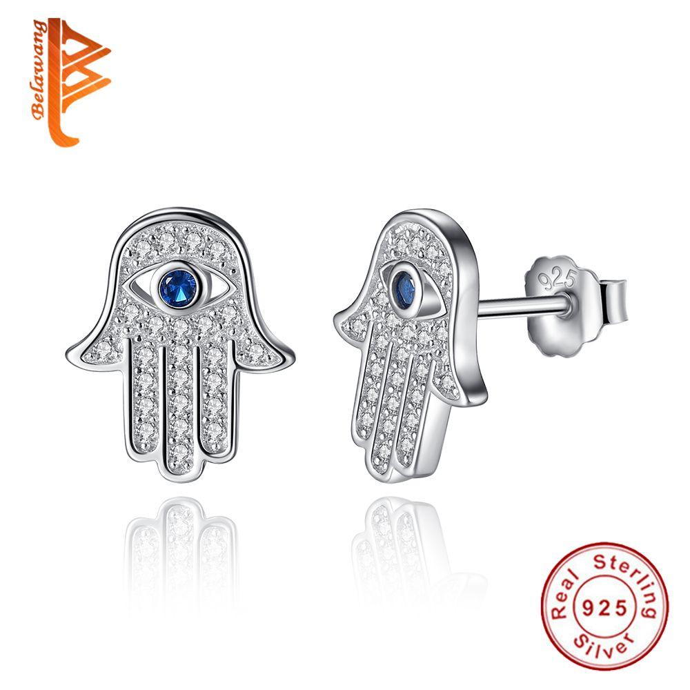 Original 925 argent Sterling bleu chanceux oeil Hamsa main boucles d'oreilles pour les femmes avec CZ clair cristal boucles d'oreilles bijoux cadeau