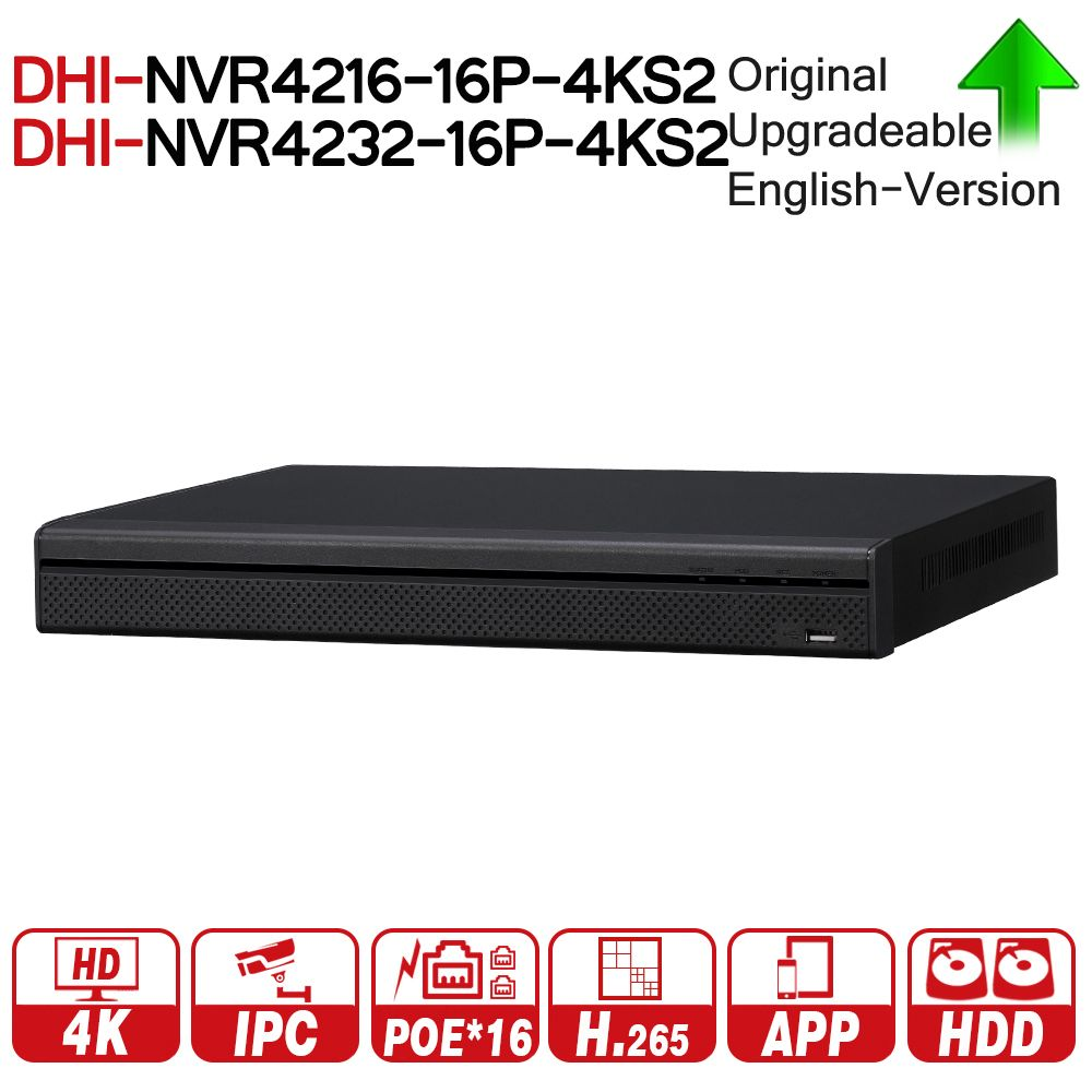 DH NVR4216-16P-4KS2 NVR4232-16P-4KS2 16/32 Channel 1U 16PoE 4K&H.265 Lite Network Video Recorder 4K NVR For Security System