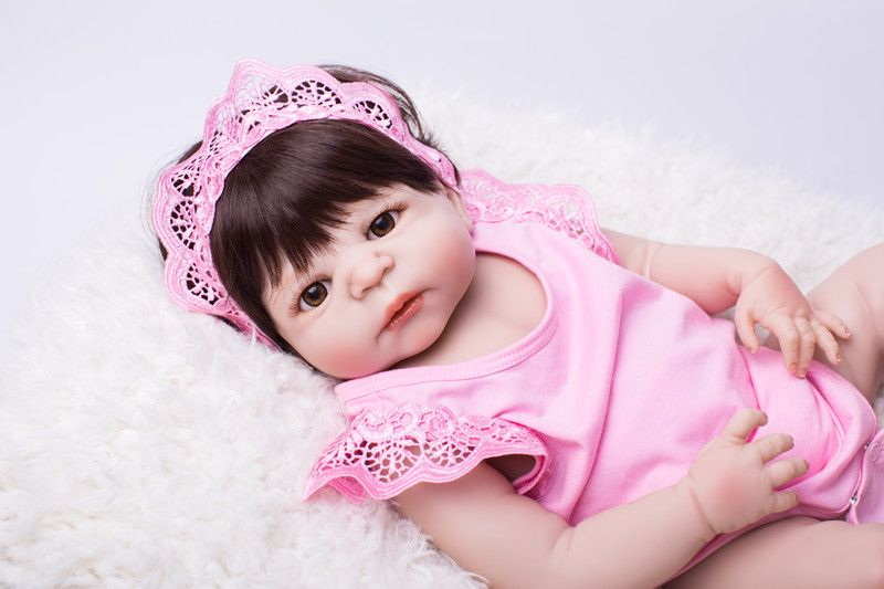 22 Full Body Silicone Reborn Babies Doll Toy Baby Reborn Pink Princess Doll Child Birthday Gift Present Lovely Girls Brinquedos