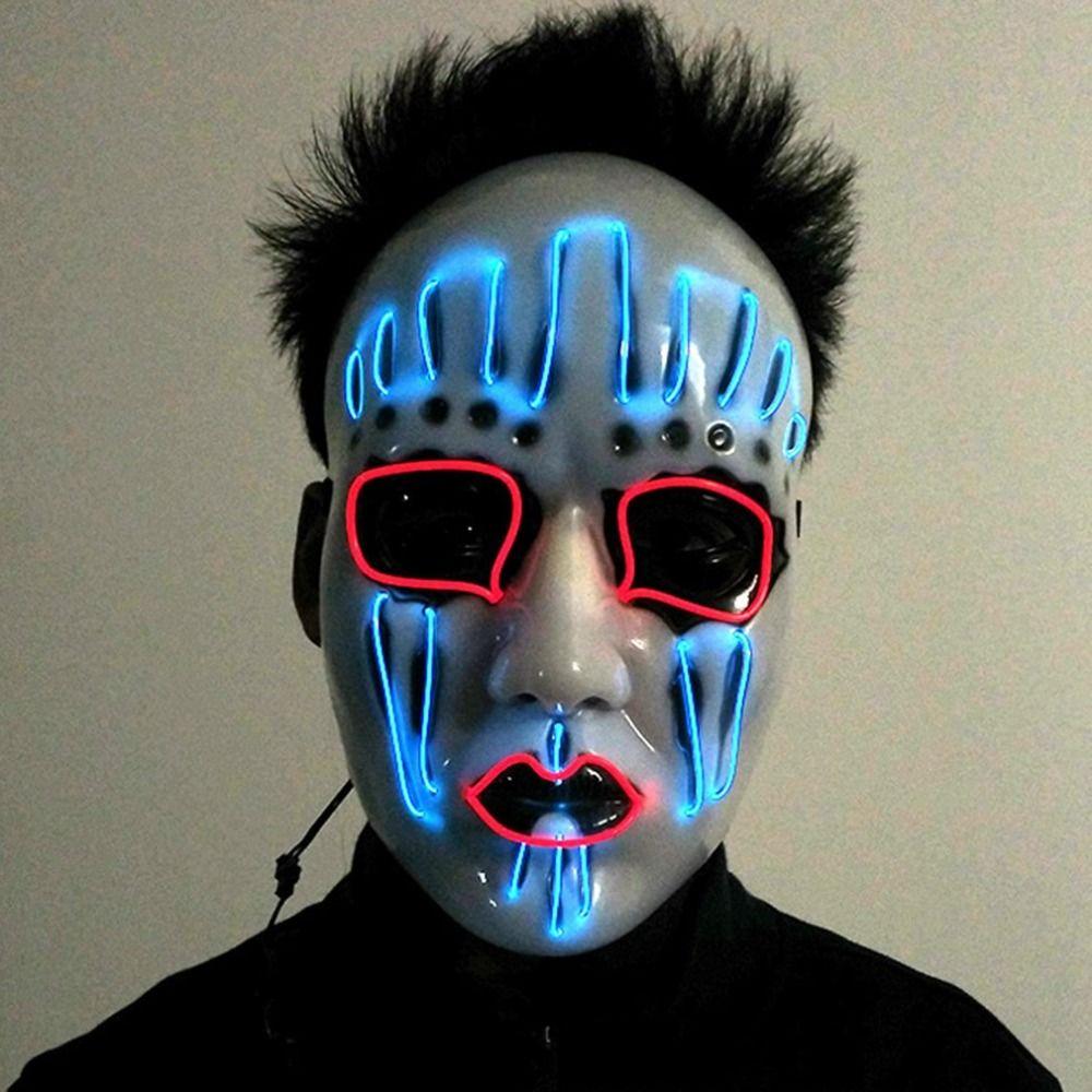 2017 Moda Máscara Del Partido de EL Alambre Que Brilla Intensamente LED Luz Intermitente Luminoso Fantasma Máscara de Calavera Alimentado por Baterías Nueva Llegada