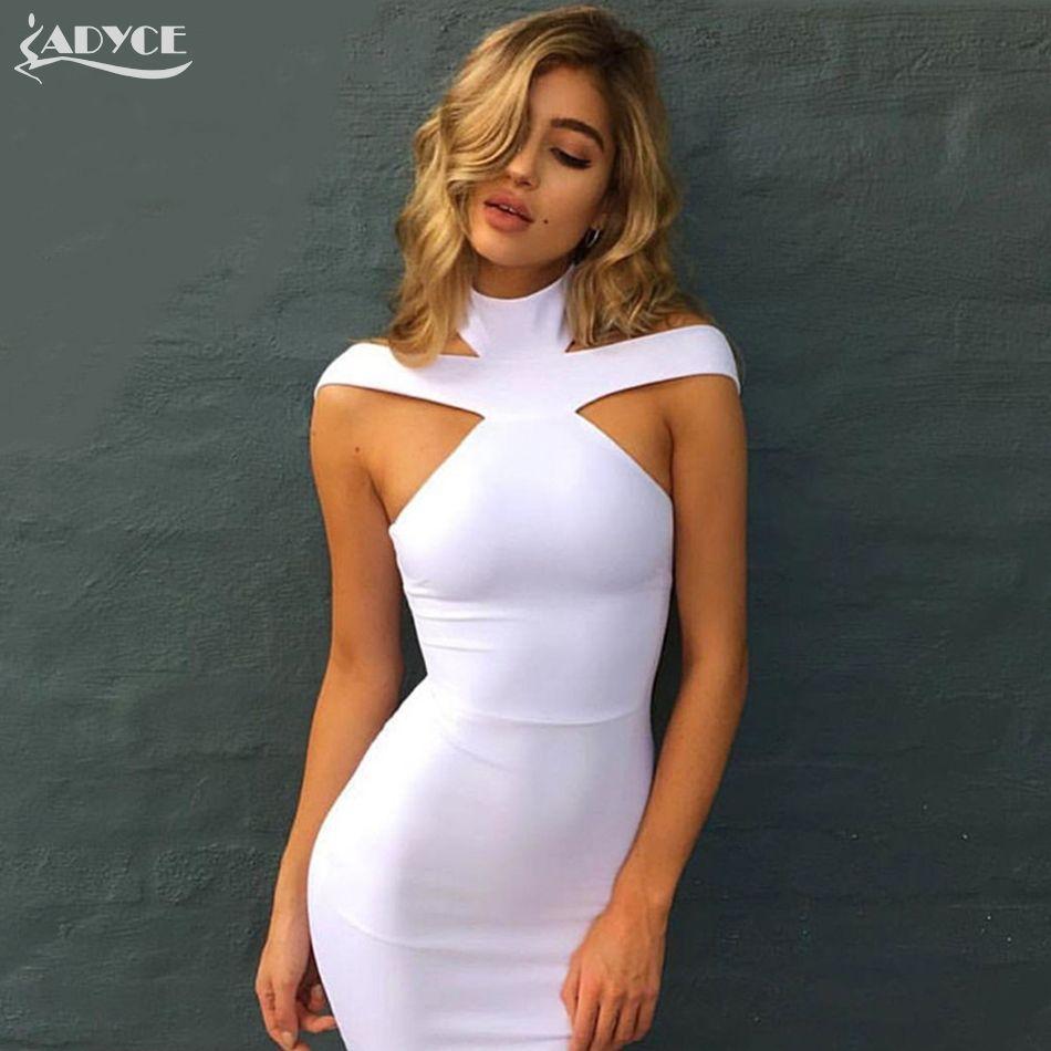 New Bandage Dress 2018 Celebrity Evening Party Dress Vestidos Sexy Off The Shoulder Halter White khaki black Club Women Dresses