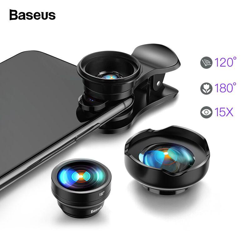 Objectif de téléphone portable Baseus grand Angle oeil de poisson Fisheye 15X objectif de caméra Macro pour iPhone Xs Max Xr X Samsung S10 S9 Huawei P30 Pro