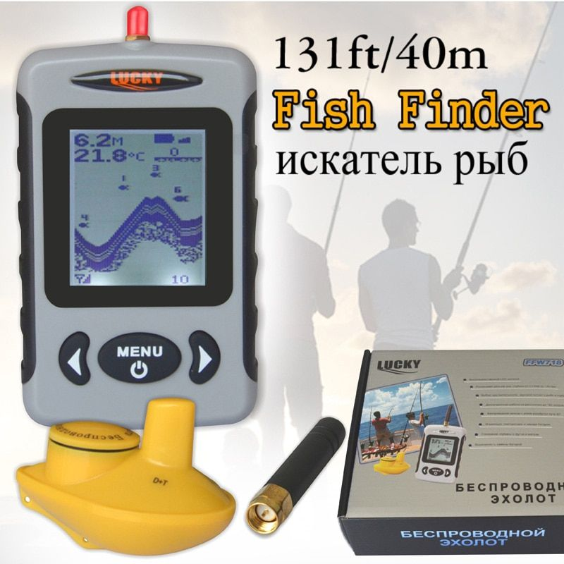 Lucky FFW718 Depth Sonar Fish Finder Wireless Sounder for Fishing Sonar Alarm Fishfinder 100M Depth River Transducer Sensor #B8