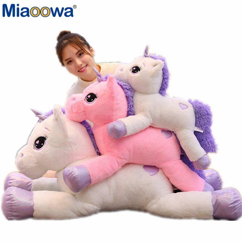 60-110 cm taille géante licorne en peluche jouet doux en peluche dessin animé licorne poupées Animal cheval cadeau de haute qualité pour livraison directe