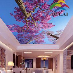 T-1014 вишневые деревья с голубым небом пленочная фотоформа потолочная новый строительный материал для обустройства дома