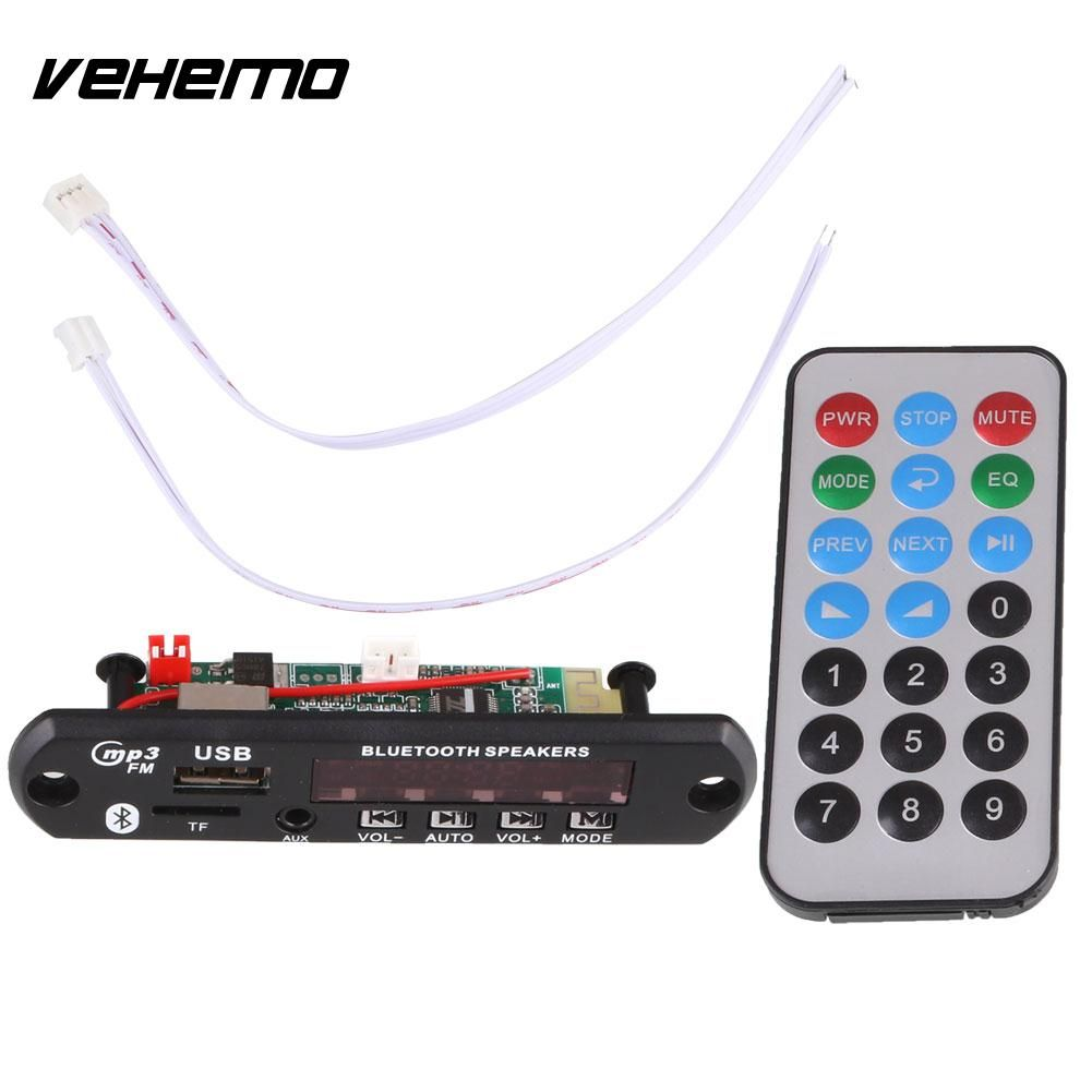 VEHEMO DC 12V Car Stying Auto Digital USB AUX Bluetooth MP3 Music Decode Board Module Audio HiFi Amplifier Remote