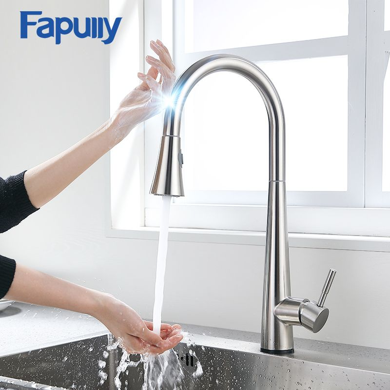 Fapully Smart Touch Control Küche Wasserhahn Gebürstet Schwarz Empfindliche Mixer Touch Induktion Wasserhahn Nach Unten Ziehen Waschbecken Tap Kran CP1051